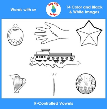 AR R-Controlled Vowels Phonics Clip Art Set by Roly Poly Designs