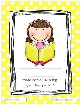 AR Reading Award Sheet for a girl