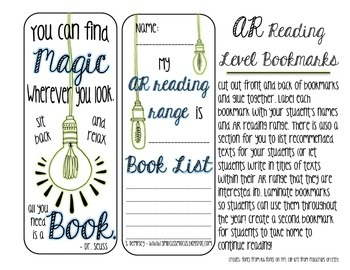 AR Reading Level Bookmarks