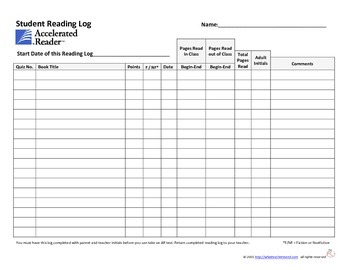 AR Reading Log (For Middle & High School Students)