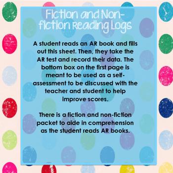 Accelerated Reader (AR)  Reading Log, Self-Assessment, Comprehension Worksheets