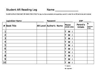 AR Reading Log Sheet