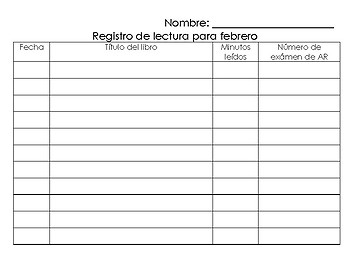 AR Reading Log (Spanish)