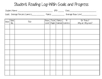 AR Reading Log for Students