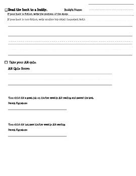 AR Reading Worksheet