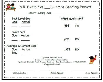 AR Reading and Class Goals Sheet