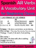 AR Spanish Verb and Vocabulary Unit for Beginning Classes