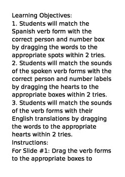 AR Spanish Verbs Conjugation Activities
