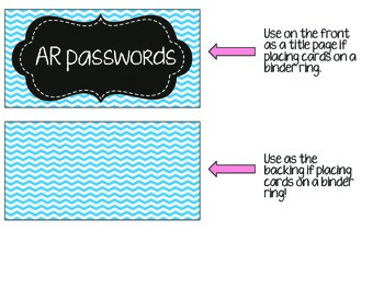AR Student Password Cards