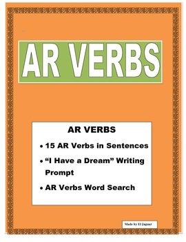 """AR VERBS- 15 Verb Writing Practice-""""Yo tengo un Sueño"""" Mar"""