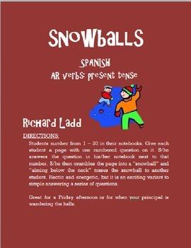 AR Verbs Snowballs SPANISH