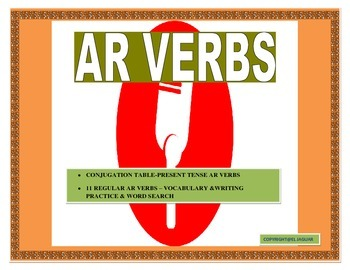 AR Verbs in Spanish- Conjugation Table/ Sentence Writing/Word Search
