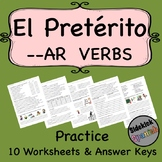AR Verbs in the Preterite Spanish Practice Worksheets