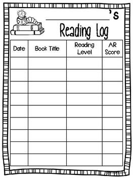 AR Weekly Reading Log