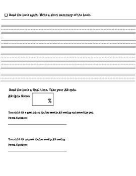 AR Worksheet (More Difficult Version)