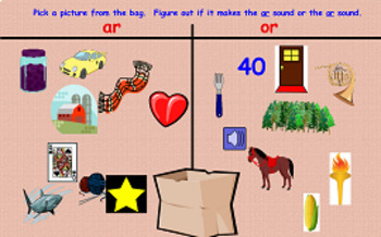 AR and OR Bossy R Phonics Picture Sorting Flipchart