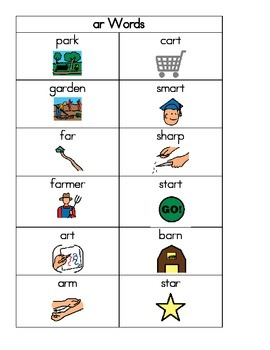 AR and OR Phonics Word Cards