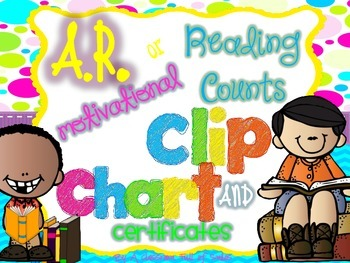AR or Reading Counts Motivational Clip Chart and Certificates *Bright Edition*