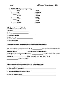 AR (present tense) Mastery Quiz