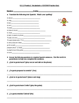 AR verb and gustar practice quiz