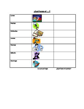 Present tense and activities: Info gap to practice activities & days of the week