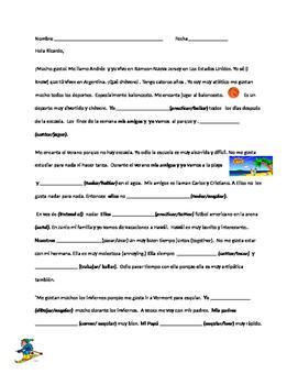 AR verb conjugation quiz in context with comprehension questions