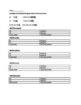AR verbs Present tense worksheet