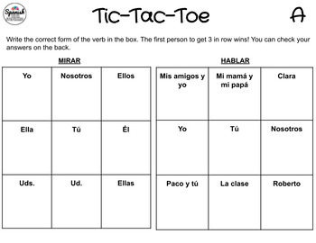 AR verbs: Spanish Tic-Tac-Toe Game
