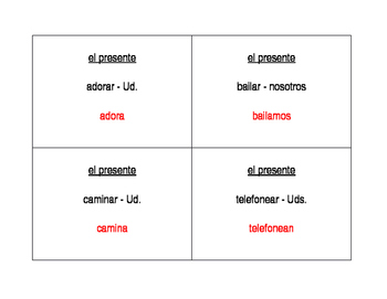 AR verbs in Spanish Question Question Pass activity