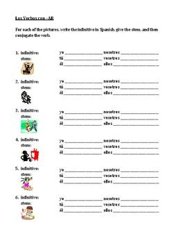 AR verbs in Spanish present tense worksheet 3