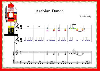ARABIAN DANCE. NUTCRACKER  BOOMWHACKER MUSIC SCORE .TCHAIKOVSKY