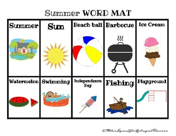 ARABIC and ENGLISH SUMMER WORDS!