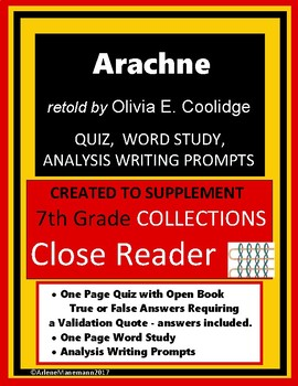 ARACHNE Quiz, Word Study and Writing Prompts