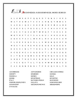ARCHIMEDES: A BIOGRAPHICAL WORD SEARCH