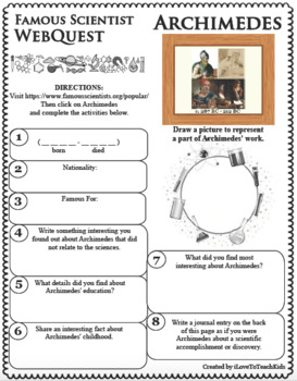 ARCHIMEDES - WebQuest in Science - Famous Scientist - Differentiated