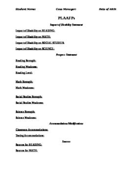 ARD / IEP Preparation Document