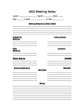ARD Meeting Notes