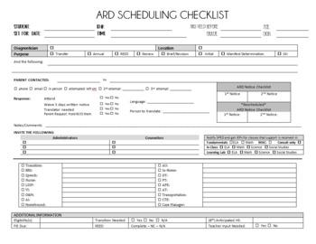 ARD Scheduling Checklist