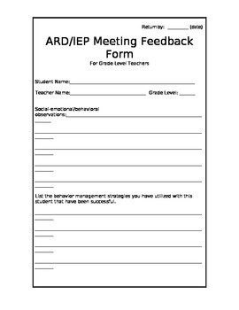 ARD/IEP Meeting Feedback Form For Special Education Teachers
