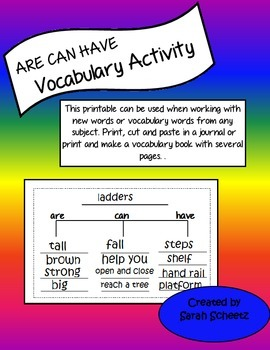 ARE CAN HAVE Vocabulary Activity