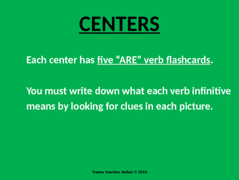"""Italian Made Simple: """"ARE"""" Verb Conjugation Slideshow & Activities"""