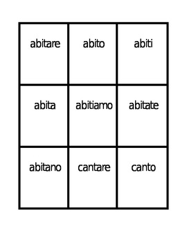 ARE Verbs Verbi ARE in Italian Present tense Spoons game / Uno game