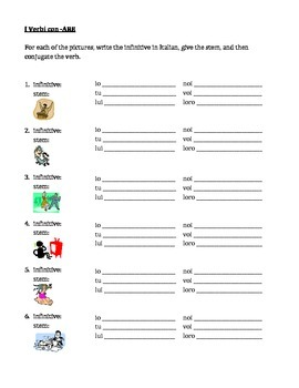 ARE verbs in Italian present tense worksheet