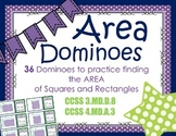AREA DOMINOES:  36 Dominoes to Practice Finding Area CCSS 3.MD.D.8 & 4.MD.A.3