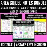 AREA Notes BUNDLE   Area of a Triangle Notes   Parallelogr