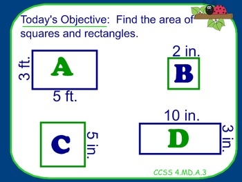 AREA LESSON for SMARTBOARD: introduction to area CCSS 4.MD.A.3