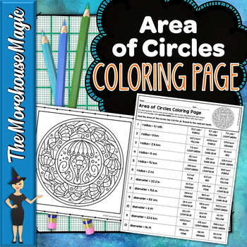 AREA OF CIRCLES MATH COLOR BY NUMBER, QUIZ