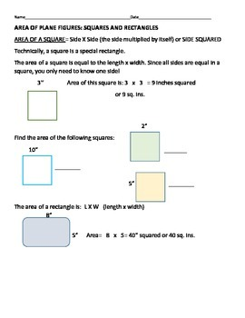AREA OF PLANE FIGURES: SQUARES AND RECTANGLES