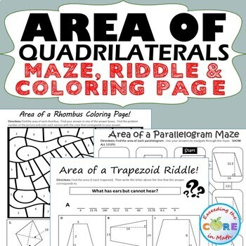 Area of Quadrilaterals Maze, Riddle, Coloring Page