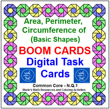 "AREA, PERIMETER, CIRCUMFERENCE BASIC SHAPES: ""DIGITAL"" BOOM CARDS (35 TASK CAR"